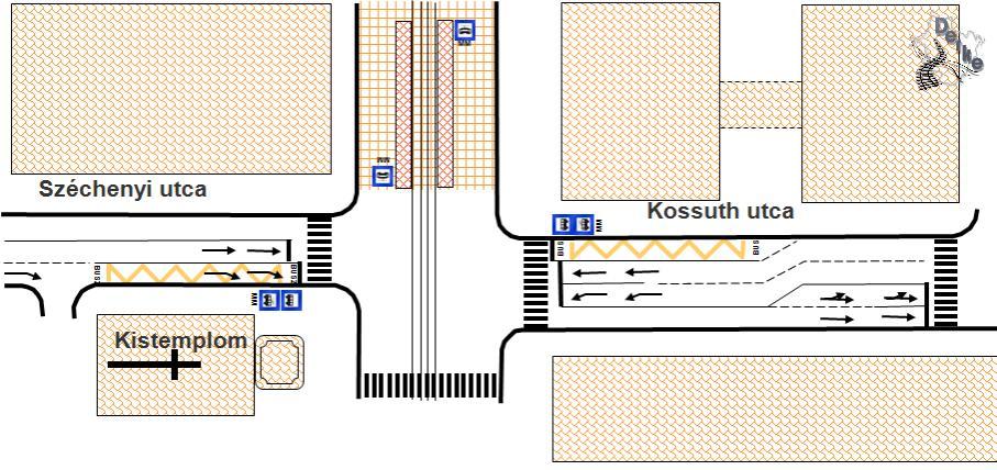 Megállók javasolt elhelyezkedése a Városháza és a Kistemplom mellett
