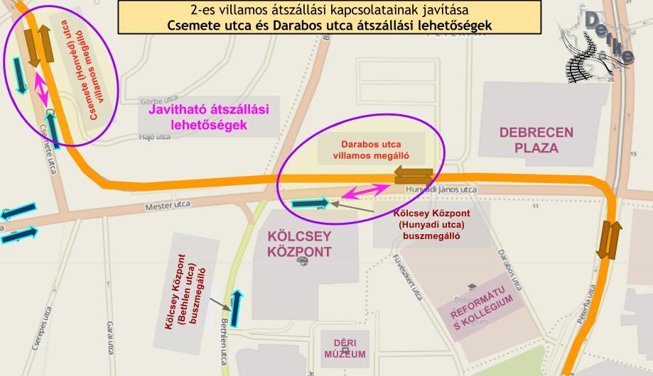 Megállóhelyek elhelyezkedése a Csemete utcán és a Hunyadi utcán